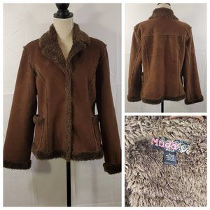 Mudd Faux Leather Fur Button Down Jacket - Large